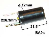 Lampunkanta BA9S, muovia 2-laattaliitintä taakse, BA9s