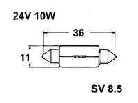 Polttimo 11x36mm 10W, SV8,5