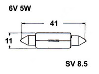 Polttimo 11X43mm 5W, SV8,5