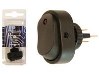 Keinukytkin, 12V,on-off, LED punainen, 3x6.3mm liitin