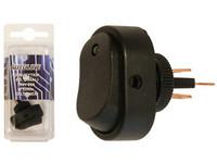 Keinukytkin on-off, 12V,  LED keltainen, 3x6.3mm liitin