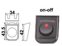 Keinukytkin on-off, asennuskehys, LED punainen, 12V, 3x6.3mm liitin