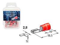 Laattaliitin 2.8x0.8mm naaras, punainen, Blister, Pakkauksessa 100 kpl