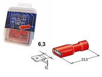 Laattaliitin 6.3mm naaras, punainen, suojattu, Blister, Pakkauksessa 50 kpl