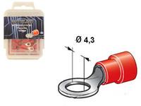 Rengasliitin Ø4.3mm, punainen, Blister, Pakkauksessa 100 kpl