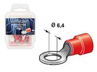 Rengasliitin Ø6.4mm, punainen, Blister, Pakkauksessa 100 kpl