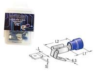 Lattaliitin 6.3mm reppuselkä, sininen, Blister, Pakkauksessa 50 kpl