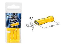 Lattaliitin 6.3mm naaras, keltainen, suojattu, 10kpl rasia