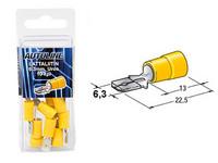 Lattaliitin 6.3mm uros, keltainen, 10kpl rasia