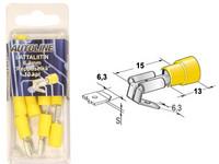 Lattaliitin 6.3mm reppuselkä, keltainen, 10kpl rasia