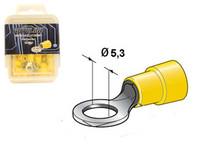 Rengasliitin Ø5.3mm, keltainen, 50kpl rasia