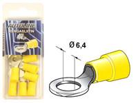 Rengasliitin Ø6.4mm, keltainen, 10kpl rasia