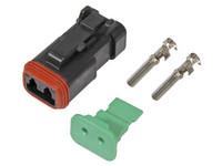 Liitinsarja Deutsch 2-pin, naarasliittimin (0.75-2mm²), Musta, DT-srj Lisätieto: mm.Bosch, Nordic HID-työvaloihin
