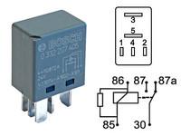 Mikrorele 24V 5/10A, 87a, 5-napaa vastus