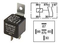 Kytkentärele 5-napainen 12V 2x20A