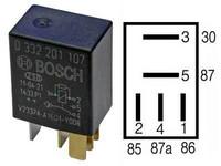 Mikrorele 5-napainen 12V 10/30A vastuksella