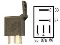 Mikrorele 5-napainen 12V 10/20A vastuksella