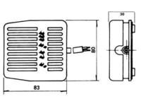 Muovinen pedaali palautuvalla mikrokytkimellä, 250V 10A