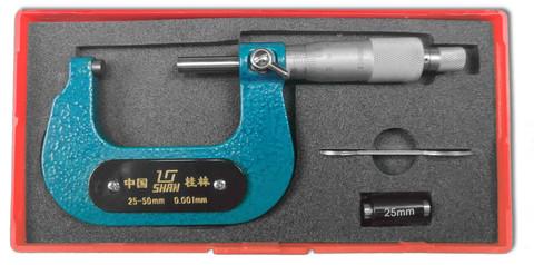 Kaarimikrometri 25-50mm, resoluutio 0.001