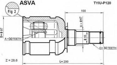 Toyota LC120 CV nivel sisempi, 43403-60020 43430-60060