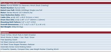 Runva Rock Crawl 9.5XS Sähkövinssi 4309kg Vaijerilla