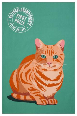 Keittiöpyyhe oranssi kissa
