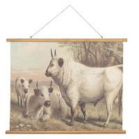 Iso pellavainen opetustaulu lehmät