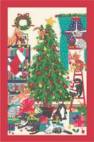 Keittiöpyyhe kissojen joulupuu