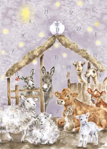 Wrendale joulukalenterikortti tallin eläimet