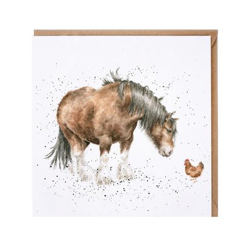 Wrendale hevonen ja kana kortti