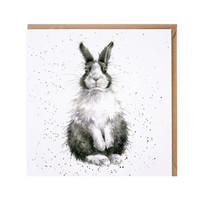 Wrendale mustavalkoinen kani kortti