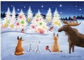 Metsäneläimet ihailevat joulukuusta kortti