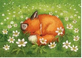 Kettu kukkaniityllä kortti