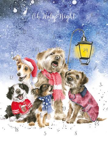 Wrendale joulukalenterikortti laulavat koirat