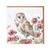 Wrendale tornipöllö ja kukat kortti