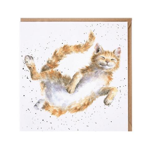 Wrendale oranssi iloinen kissa kortti