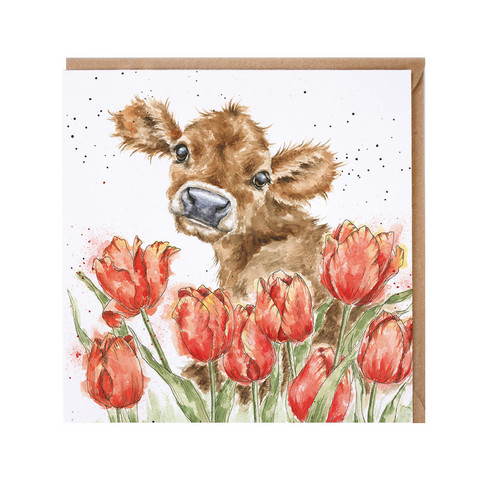 Wrendale lehmä ja tulppaanit kortti