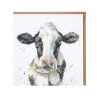 Wrendale lehmä heinä suussa kortti