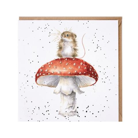 Wrendale hiiri ja kärpässieni kortti