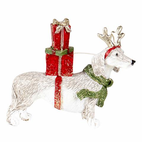 Joulukoriste koira ja paketit