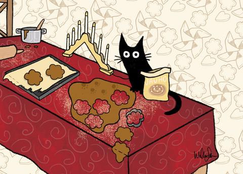 Mustan kissan piparinleivonta kortti