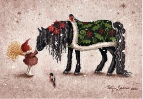 Upea musta hevonen ja tonttu joulukortti