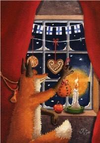Kettu ikkunassa joulukortti