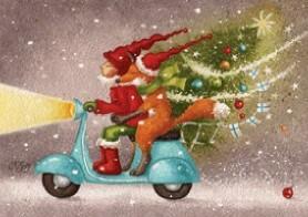Kettu ja tonttu skootterilla joulukortti