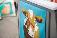 Keittiöpyyhe lehmä sinisellä