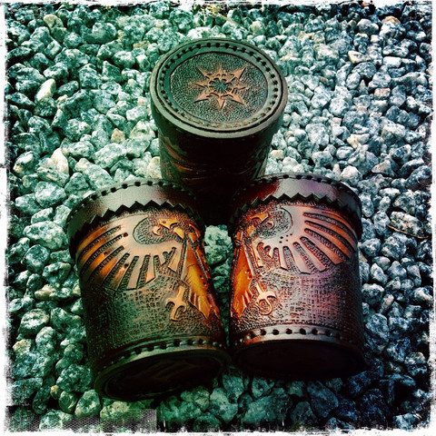 Dice cup, leather, Inspired by WH 40.000