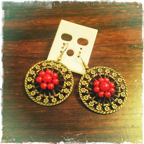 Brass earring with red stones