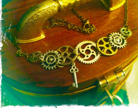 Steampunk themed necklace with several cogwheels