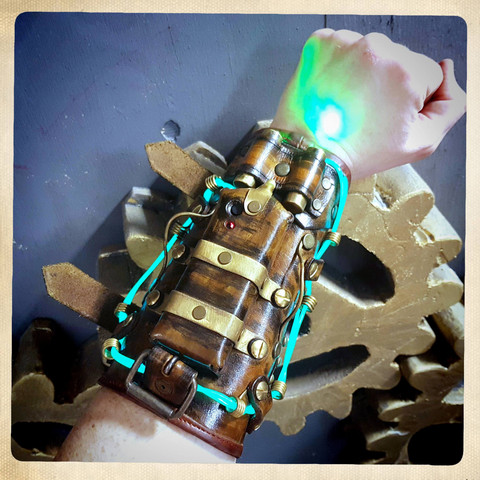 Steampunk style LED light Cuff with small spot lights