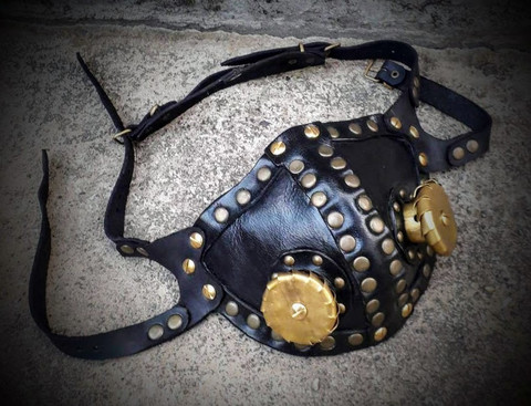 Steampunk Leather Mask with brass decorations